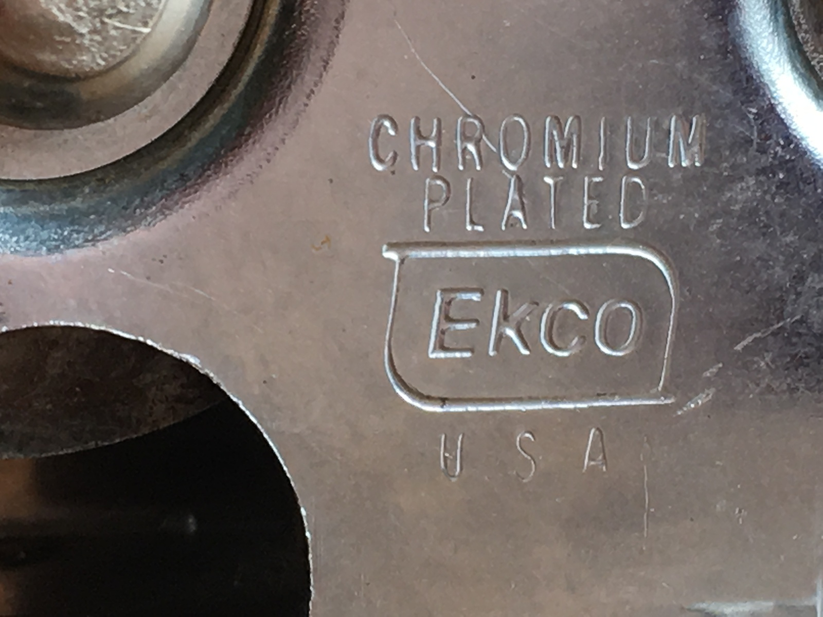 Vintage Chromium Plated EKCO Knife Sharpener Black Nylon/Plastic Handle U.S.A.