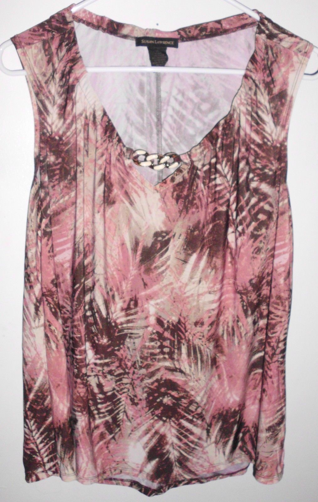Primary image for SUSAN LAWRENCE Top X-LARGE Sleeveless Stretch Palm Leaf Shirt Women's