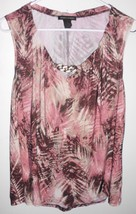 SUSAN LAWRENCE Top X-LARGE Sleeveless Stretch Palm Leaf Shirt Women's - $13.85