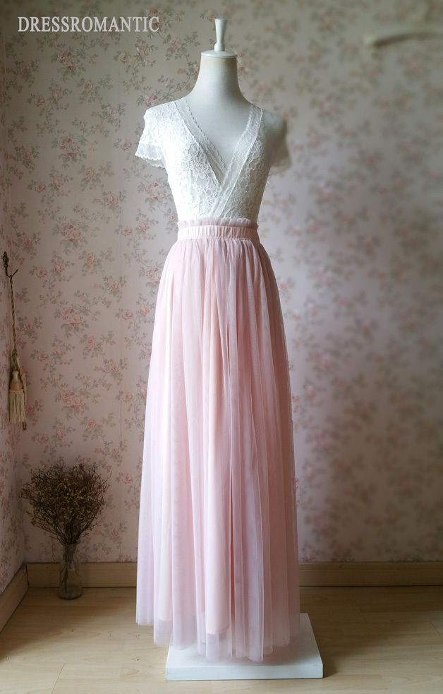 BLUSH PINK Maxi Tulle Skirt Elastic High Waist Blush Full Maxi Long Tulle Skirt