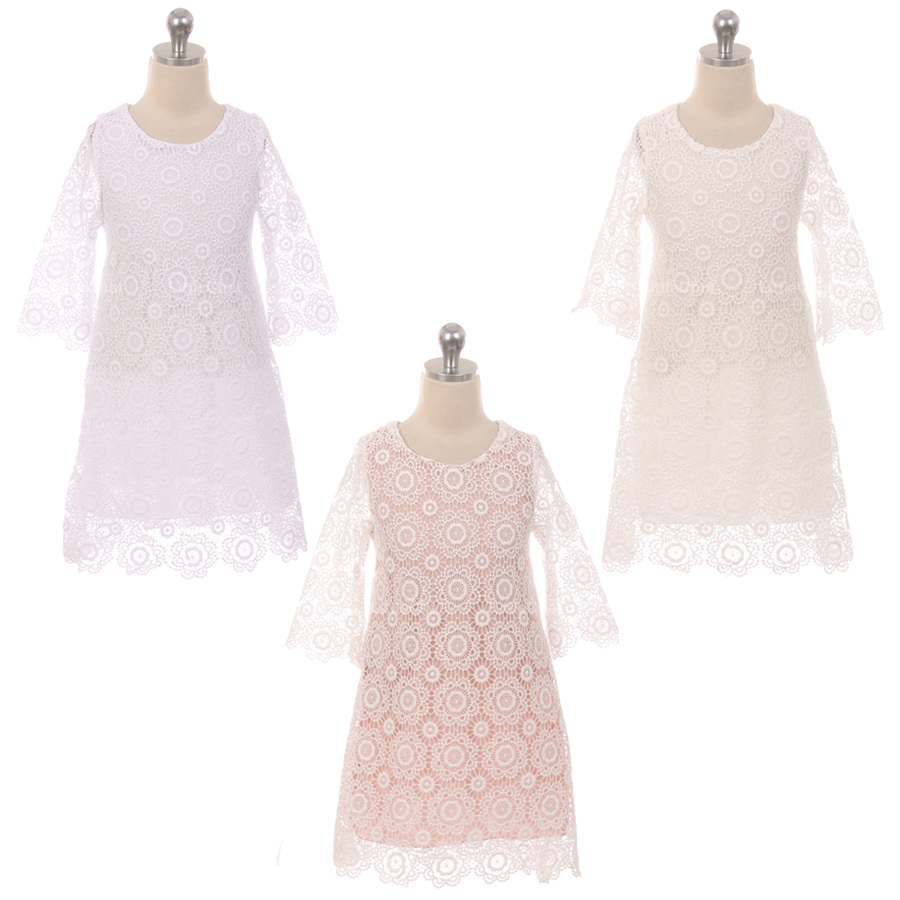 White Long Sleeve Thick Floral Design Lace with Pearl Button Closure Girl Dress
