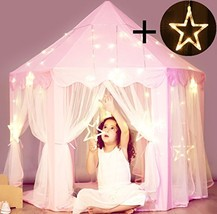Princess Castle Tent with Large Star Lights String, Durable Kids Playhouse for I