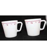 Corning Corelle Pyrex Burgundy Rose Milk Glass Set of 2 Coffee Mug Cup 3... - $37.93