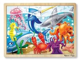 'Under The Sea' 24-Piece Wooden Jigsaw Puzzle + FREE Melissa & Doug Scratch Art  - $14.55