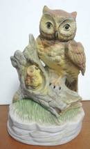 Vintage Mother and Baby Owl Standing on Hollowed Trunk - $1.28