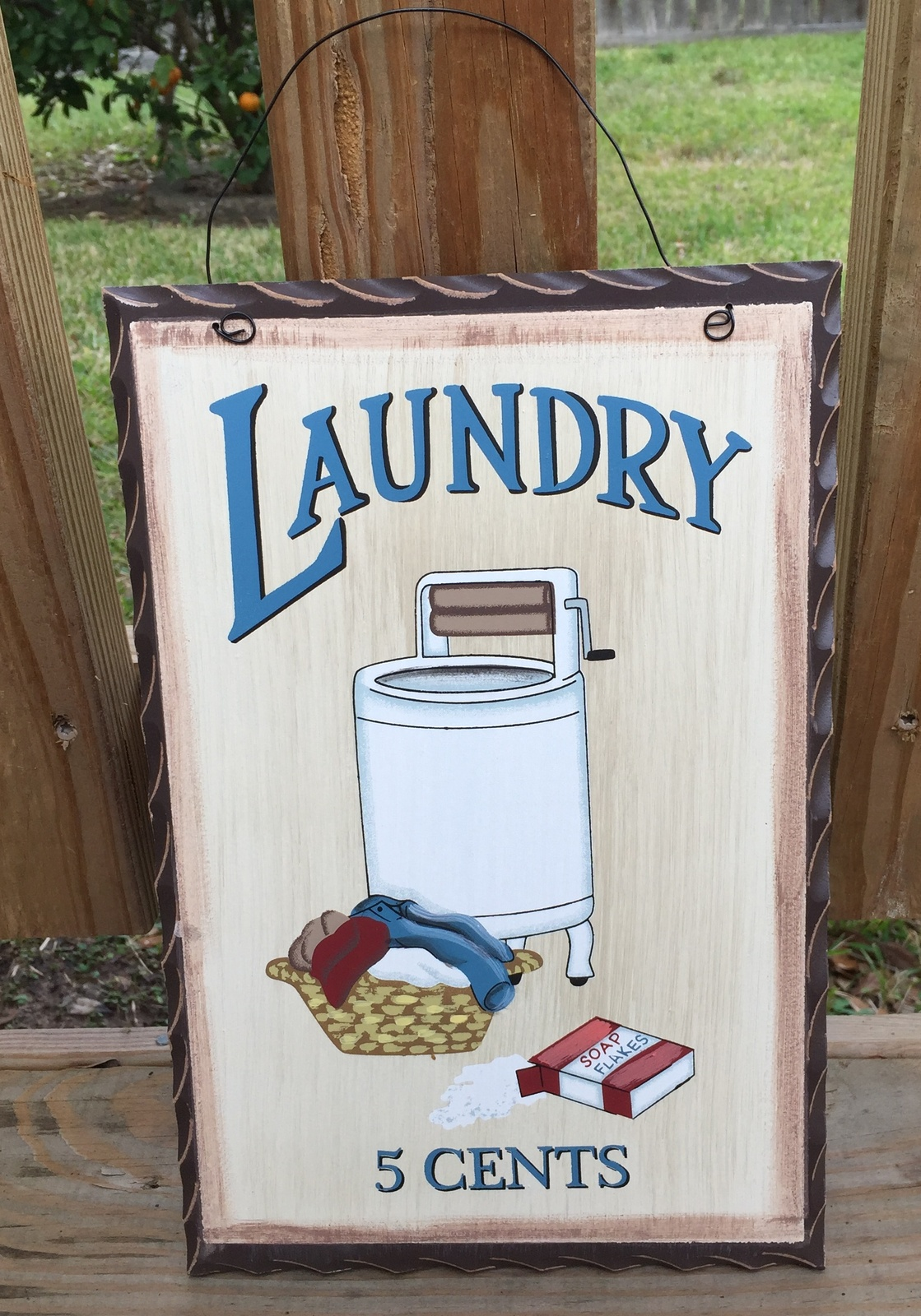 Primitive Decor wd653  Laundry 5 cents  Wood Plaque  - $6.95