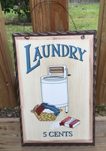 Primitive Decor wd653  Laundry 5 cents  Wood Plaque  - €6,33 EUR