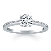 14k White Gold Channel Set Cathedral Engagement Ring - $2,092.50