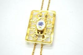 Painted Blue Porcelain Flower Open Work Gold Tone Slide Lariat Necklace ... - $19.79