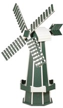 5 FOOT POLY WINDMILL - Green & White Working JETS Weathervane Amish Hand... - $522.35 CAD