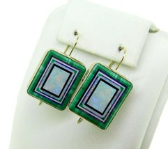 14k Yellow Gold Intarsia Genuine Natural Opal Inlay Earrings Kaufmann (#... - $1,425.00