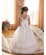 New Arrival Ivory Lace Wedding Kids Gowns Bow Scoop Lace Long Flower Gir... - $70.00