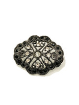 Vintage Oval Open Work Pin Brooch Filigree In Black Silver Tone And Rhin... - $44.55