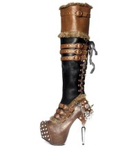 Hades VENTAIL Thigh High Boots Brown/Black Platform Spikes Lace Up Studs... - $252.00