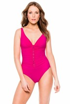 Profile By Gottex Swimsuit One Piece Lingerie Strap Tank Open Front Magenta 6/36 - $18.55
