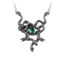 Alchemy P847 Gorgons Eye Necklace Gothic Pendant Swarovski Crystal Serpent - $39.55