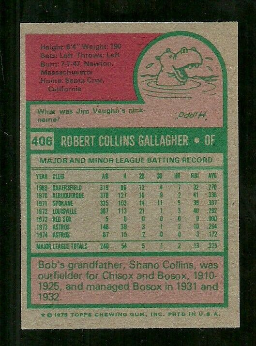 1975 TOPPS MINI #406 BOB GALLAGHER METS EX FREE SHIPPING