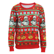 Santa Claus X-mas Tree Reindeer Patterned Sweater New Arriving Ugly Chri... - $24.93+