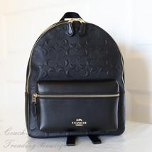 NWT Coach F32083 Medium Signature Debossed Leather Charlie Backpack Black - $164.25