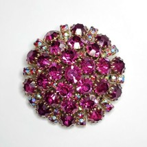 Large Signed Weiss Purple AB Glass Rhinestone  Domed Gold Tone Brooch 2 ... - $39.60