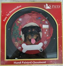 E&S Pets Rottweiler Dog Hand Painted Christmas Ornament NEW - $8.80