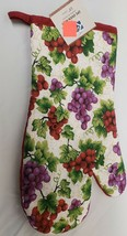 "Cotton Printed 13"" Jumbo Oven Mitt, GRAPES w/ red back by KH - $7.91"