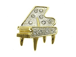 Crystal Stone Paved Piano Pin and Brooch in Goldtone - $12.95