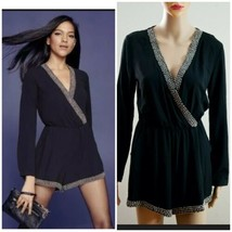 Astr The Label Deep V-Neck Black W/silver beaded Romper size S - $34.65