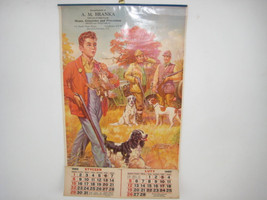 Great Hunting Scene Chromolithographic Calendar Brattleboro Polish Groce... - $40.00