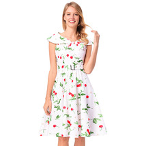 AOVEI White Cherry Print Sailor Collar A Line Sweet Flared Pleated Swing Dress - $24.99