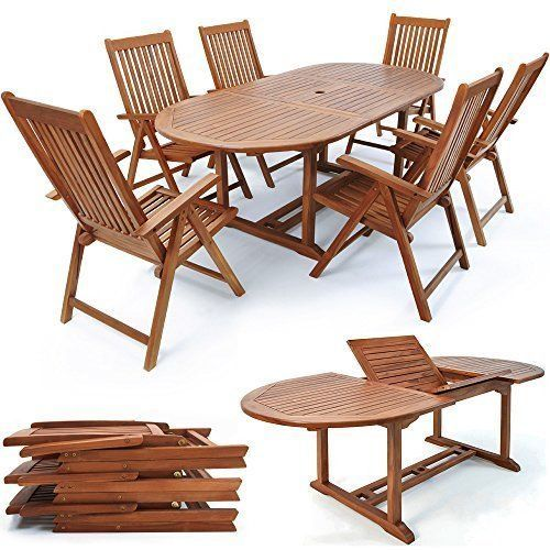 Patio Wooden Dining Set 6 Seater Oval Table Chairs Garden Conservatory Furniture