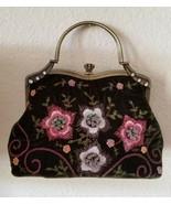 Vendula London Evening Bag Clutch Embroidery Beads Green Velvet Boho Gy... - $69.99