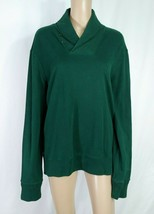 POLO Ralph Lauren Dark Forest Green V-neck Collar Shawl Pullover Knit To... - $9.50