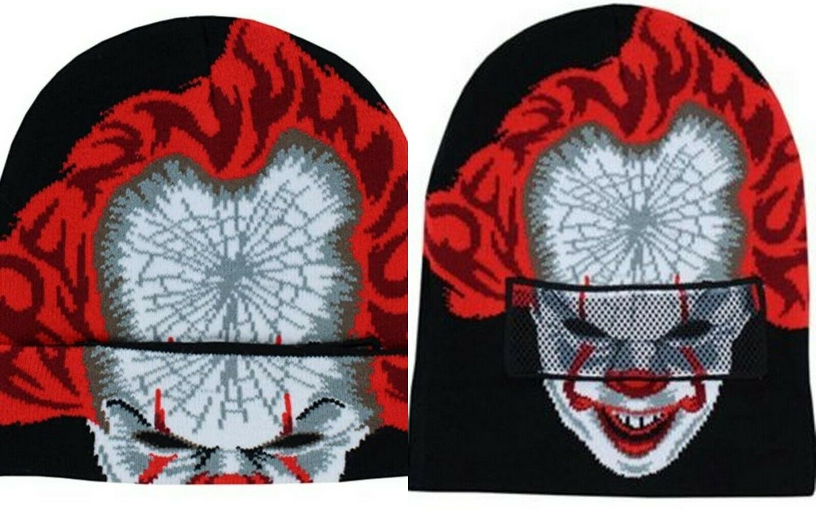 Primary image for NEW w/ Tags OFFICIAL IT Pennywise Clown Knit Helmet Beanie Cap 1616 Holdings