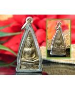 Buddha Pendant Sitting Dhyana Mudra Reversible Buddhist Brass Silver - $24.95