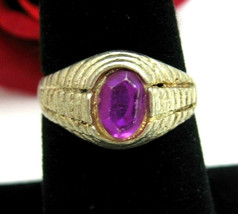 PURPLE RING Vintage  Plastic Oval GEM In SILVERTONE Size 8 Costume Jewelry - $10.99