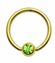 "Captive Lip Ear Daith Ring 16 Gauge 3/8"" Gold Plate w/Green 4mm Gem Ball Body Je - $7.99"