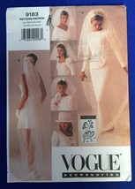 Vogue Bridal Wedding Veils & Hat Sewing Pattern 9183 UNCUT 6 Styles Lace FF - $12.55