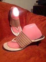 LIZ CLAIBORNE NAPELS WOMEN'S TAUPE W/ STRIPED BROWN ELASTIC THONG SANDAL... - $24.74