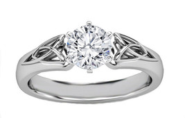 Round Cut Diamond Triquetra Celtic Diamond Engagement Ring - GIA Flawless - $4,996.39