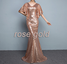Sexy Golden Bat Sleeve Maxi Long Sequin Dresses Fitted Sequined Cocktail Dress image 12