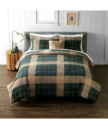 KING 4pc Cuddl Duds Home Forest Green PLAID LODGE Flannel Comforter Set - $250.00
