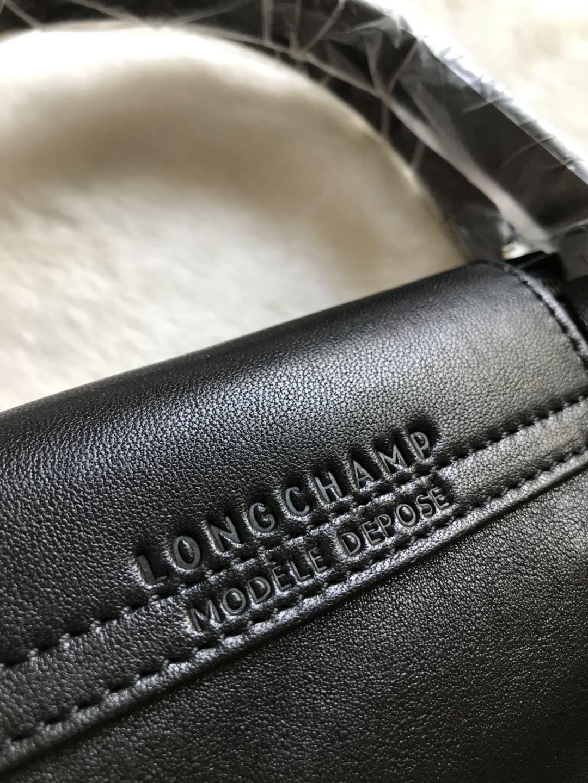 Longchamp Le Pliage Cuir Top Handle Hand Bag Small Size Black Auth