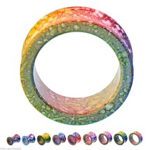 "PAIR-Splatter Colored Acrylic Double Flare Ear Tunnels 25mm/1"" Gauge Bod... - $8.99"