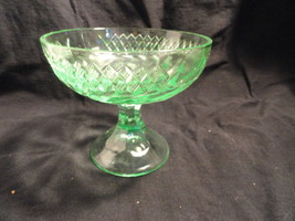 Green Floral and Diamond Band Compote MINT - $9.99