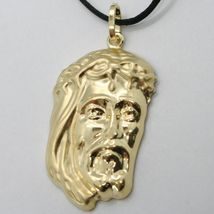 18K YELLOW GOLD JESUS FACE PENDANT CHARM 37 MM, 1.5 IN, FINELY WORKED ITALY MADE image 6