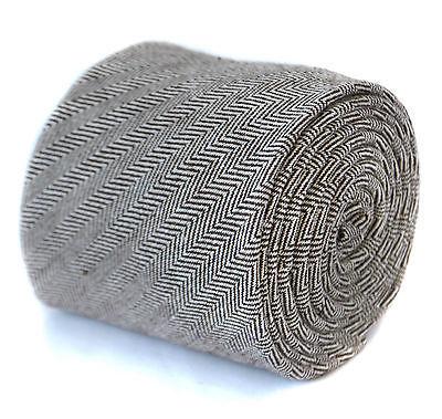Frederick Thomas mens wool tweed tie in brown herringbone FT2076
