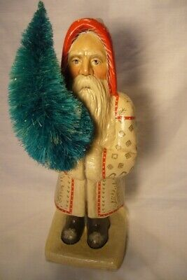 Vaillancourt Folk Art , Large White  Coat Father Christmas signed by Judi
