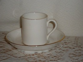 4 Crown Staffordshire Demitasse Cups and Saucers #CRS121 White with Gold  - $32.00