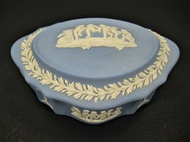 Vintage Blue Wedgwood Jasparware Trinket Box - Made In England - $36.74